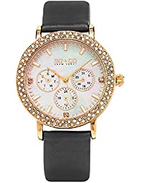 SO & CO New York Madison Women's Quartz Watch with Mother of Pearl Dial Analogue Display and Grey Leather Strap 5216L.5
