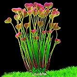 MINERLELE, pianta Artificiale in plastica per Acquario, 40 cm di Altezza, Decorazione per Acquario, pianta Grande, sicura per Tutti i Pesci, Larghezza 18 cm (Rosso Vino)