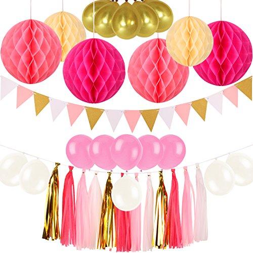 Party Dekoration Set,POAO 6 pcs Wabenbälle,15 pcs Latex Ballons,1 set Wimpel Banner,12 pcs Papier Quasten Girlande für Party Dekorationen,Geburtstag, Hochzeit, Party, Hauptdekorationen (Rosa)