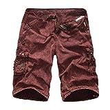 KPILP Sommer Cargo Shorts Bermudas Kurze Hose für Herren Männer aus Reine Baumwolle in Camouflage Armee grün Grau Grün (Rot,38