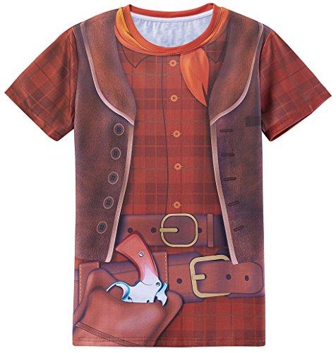 ostüm T-Shirts Herren (M, Plaid) (Cowboy Kostüm Halloween)