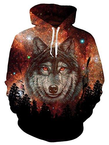Bfustyle Unisex Neuheit 3D Realistische Digitaldruck Wolf Pullover Fleece Hoodie mit Taschen