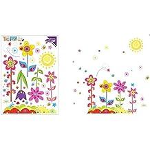 Etiqueta de la Pared Diseno de Flores Mariposa y Sol para Decoracion Infantiles Habitaciones