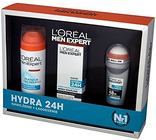 LOreal Men Expert 3PC Set Regalo - Hydra 24 (Crema idratante, Gel Da Barba, Roll On)