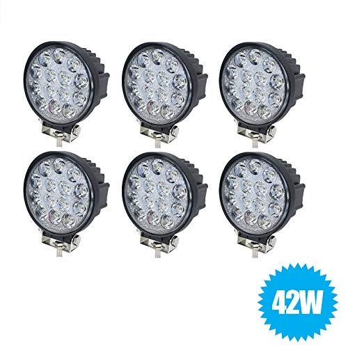 081 Store - 6X Faro 42W Rotondo LED da Lavoro FARETTO 14 LED da 3W di profondità Auto B