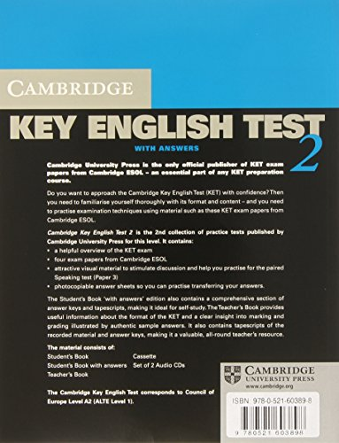 Cambridge Key English Test 2nd 2 Self Study Pack: Examination Papers from the University of Cambridge ESOL Examinations (KET Practice Tests)
