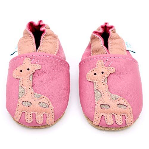 Dotty Fish - Scarpine in pelle prima infanzia - Ragazza - Fiori Rosa Giraffa