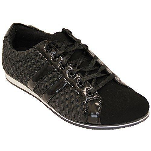 Baskets Hommes Baskets Chaussures À Lacets Verni Cuir Suédé Look Peau De Crocodile Tamboga Noir - G60223