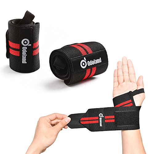 Odoland wrist straps (18,5 supporto regolabile bretelle sposta la cinghia protector powerlifting, bodybuilding, sollevamento pesi da polso supporti per allenamento con i pesi - per uomini e donne