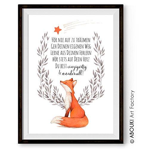 Hör nie auf zu träumen - einzigartiger mit Wunschnamen personalisierbarer Kunstdruck von ABOUKI - ungerahmt - im DIN A4 oder DIN A3 Format auf hochwertigem Fine Art Papier mit Motiv Fuchs (Traum-kunst-druck)