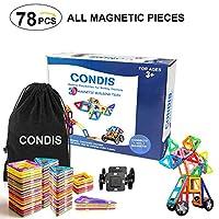 CONDIS 78 Piezas de Todos los Bloques de Construcción Magnéticos, Juegos de Construcción, Juegos Magneticos Construcciones Magneticas para Niños y Niñas, Imanes Piezas Construccion, Juegos de viaje Juguetes Creativos y Educativos, Imantados Magnéticas Jue