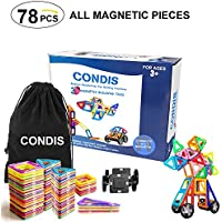 Condis 78 Piezas Bloques de Construcción Magnéticos, Juegos de Construcción, Juegos Magneticos Construcciones Magneticas para Niños, Imanes Piezas Construccion