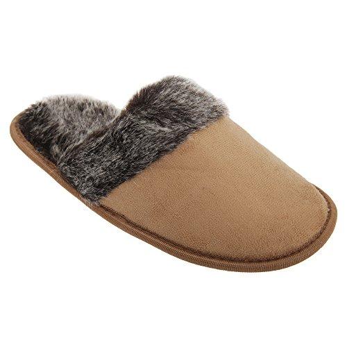 Severyn Donna - Pantofole con finto camoscio Marrone chiaro