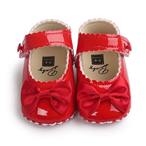 MiyaSudy Baby Mädchen PU Lederne Weiche Sole Bowknot Prinzessin Mary Jane Schuhe Rot