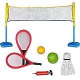 deAO Deportes de Raqueta 3 en 1 Conjunto para Tenis, Bádminton y Squash Set Juegos de Deporte Infantil Incluye Raquetas, Pelotas y Red
