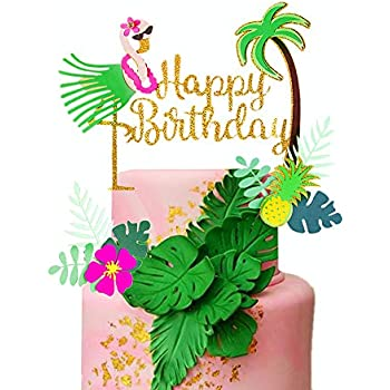Enjoyable Jevenis Set Of 3 Glitter Flamingo Happy Birthday Cake Toppers Funny Birthday Cards Online Elaedamsfinfo