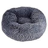 Queta Deluxe-Haustierbett,für Katzen und kleine bis mittelgroße Hunde,Leicht zu reinigen,Bett für Haustiere in Doughnut-Form (Dunkelgrau)