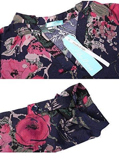 Abollria Blumen Bluse Damen Langarm Casual Blumen Print Tunika V-Ausschnitt Leichte Dünne Blusen mit Einstellbare Ärmeln Dunkelblau