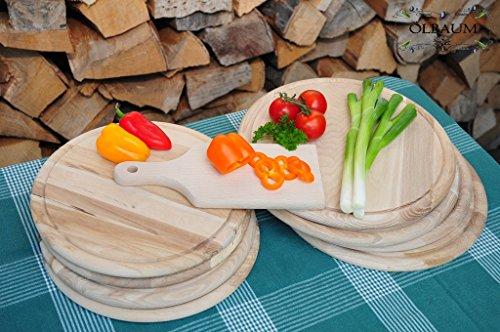 9er-SET Pizzabrett, Flammkuchen-Servierbrett NATUR, mit Holzbrett runde Form,Naturholz BIRKE, groß Holz,mit umlaufender Rille - Ölrille / Saftrille -, je 8 Stück rund ca. 28 cm + 1 x rechteckig ca. 22 cm klein mit Holzgriff, als Bruschetta-Pita-Döner-Naan-Roti-Ciabatta-Langos-Chubz-Servierbretter, Schneidebrett Schneidebrettchen, Frühstücksbrettchen,Anrichtebretter, Brotzeitbretter, Steakteller schinkenbrett rustikal, Schinkenteller von BTV Holz Schneidebrett Mit Rille