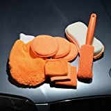 Prosmart - Set of 9 Pieces Car Wash Cleaning Kit - (1 piece car tire brush + 3 pieces towel cloth waxing cake +1 piece 8 type high and low hair washing car sponge block + 1 piece of each glass towel / warp knitting towel / waffle + 1 piece high and low hair gloves) Orange Color