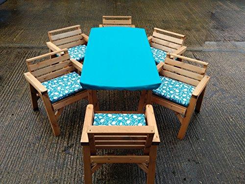 FENTON GARDEN FURNITURE. Made & Delivered 6'Tisch 6Stühle Holz Garten Patio-Möbel Set. Mit Kissen Set. Türkis (Patio-stuhl-kissen Türkis)