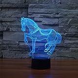 Pferdes 3D bunte Lichter LED Lampe Acryl Vision Stereoskopische 3D Touch Lampe Nacht Licht bunte Steigung Lampe
