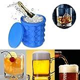 Ice Cube Maker molde con cubitos de hielo Depósito silion Hielo Cubo con tapa ahorro de espacio - Cubitera Cubitos de hielo Tarro enfriador, Saving Ice Cube Maker - Cubitera para cerveza, Whisky (1 pieza)