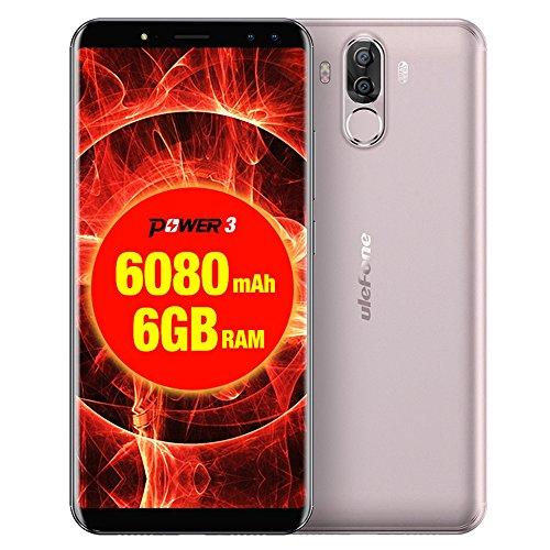 Ulefone Power 3 Smartphone 4G, 6,0 Pollici Schermo Telefoni, 13,0MP+5,0MP Anteriore, 21,0MP+5,0MP Posteriore Fotocamera 6080mAh Cellulari, Android 7,1 Processore 8-core CPU Telefonia Mobile con 6GB RAM + 64GB ROM , Doppio SIM, OTG, WIFI (Gold)
