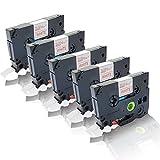 5x Schriftband kompatibel für Brother TZE-232 P-Touch D 450 VP P-Touch D 600 VP P-Touch E 500 VP P-Touch E 550 W VP TZ232 laminiert TZ-232 12 mm x 8 m