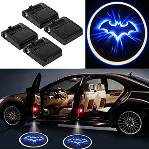 LED Auto Projektor, 4 Stück Autotür Willkommen Batman Muster Schatten Licht, Universal Drahtlose Wireless Magnetisch Sensor Schatten Logo Licht für Autotür