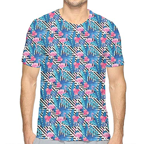 3D Printed T Shirts,Watercolor Tropic Pink Flamingos and Orchid with Blue Floral Plant Jungle Palm XXL -