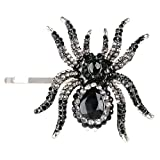 Ever Faith - cristal autrichien Aniaml araignée femmes cheveux agrafe Plaqué Argent noir N04731-1