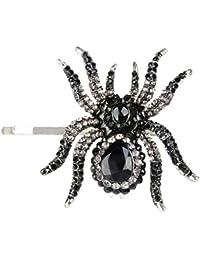 Ever Faith - Cristal Austriaco Animal Araña Mujer Horquilla Clip Plata-Tono Negro N04731-1