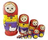 Winterworm Babuschka Puppen Matroschka Holzpuppen Handarbeit Russische Puppe 10 Teilig Bauernhof Thema