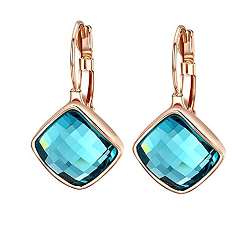 Yoursfs Baby Blue Crystal Leverback Earrings Women Square Drop Earrings for Evening Party 18ct Rose Gold Plated Girls Dress Jewellery