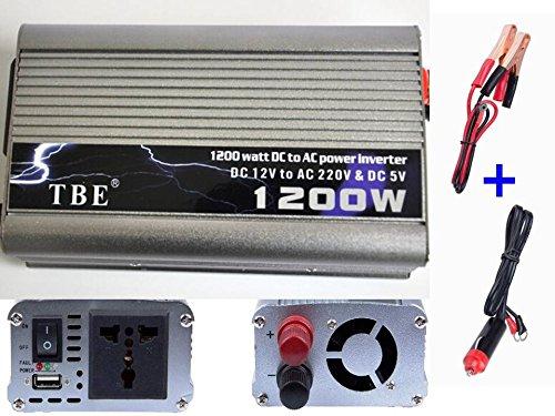 Transformador Corriente Coche Convertidor Inversor 1200W 12V a 220V Batería USB