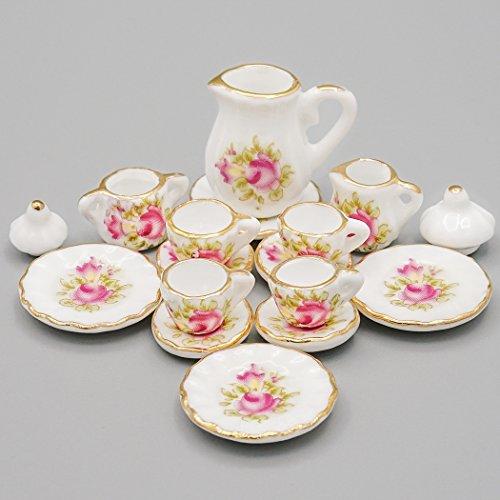 Odoria 1/12 Miniatur Geschirr 15 Stück Old England Porzellan Teeservice Set Rose Für Puppenhaus Küche ()