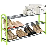 Schuhregal Schuhablage Schuhständer , 3 Schicht , Ständer Regale für 12 Paare Schuhe , Ständer Regale , 79x19.5x45cm , Grün , SR0017gn3