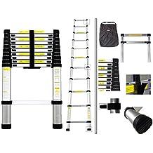 Todeco - Escalera Telescópica, Escalera Plegable - Carga máxima: 150 kg - Material: Aleación de aluminio - 3,2 Metro(s), Bolsa de transporte GRATIS, EN 131