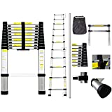 Todeco - Telescopic ladder, Foldable Ladder - Maximum load: 330 lbs - Standard/Certification: EN131 - 10.5 feet, EN 131, FREE Carry bag