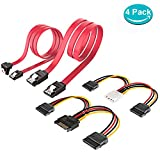 ELUTENG SATA Cable Set 4 Pack SATA Power Splitter to Dual 15 Pin and Dual 15 Pin SATA Data Cable Straight and 1x Straight-Angled For SATA SSD HDD