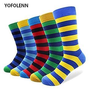 LILIKI@ 5 Paare/Los Plus Größe Breite Gestreifte Baumwollsocken Für Männer Hohe Qualität Lustige Männer Lange Glücklich Lässig Hochzeit Bunte Mode Socke