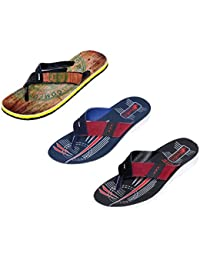 Indistar Men Flip Flop House Slipper And Sandal-White/Red/White/Blue/Black- Pack Of 3 Pairs