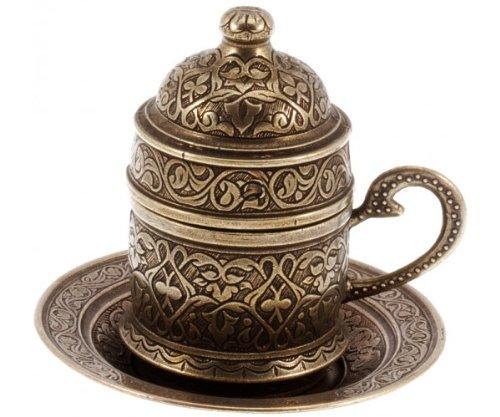 The Turkish Emporium Türkisches Espresso-Kaffeeservis mit Tasse & Untertasse (Messing) (Gravur Messing-teller)
