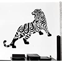 GGWW Wall Decal Tiger Animal Floral Ornament Tribal Mural Vinyl Decal (Z3308)