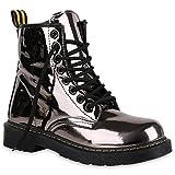 Damen Stiefeletten Lack Worker Boots Schnürer Grunge Punk Leder-Optik Schnürstiefeletten Camouflage Schuhe 140353 Grau 39 Flandell