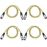 Neewer Pack de 4 Cables XLR DMX de 3 Pins Macho a Hembra 39,4 Pulgadas/ 100 Centímetros para Luces de Escenario LED, Mezcladores, Preamplificadores, Micrófonos y Sistemas de Altavoces(Amarillo )