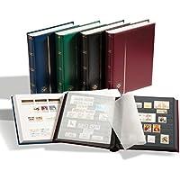 Leuchtturm 341308 Briefmarken-Sammel-Album, Einsteckbuch Comfort, DIN A4, 32 weiße Seiten, wattierter Einband, Wein-rot