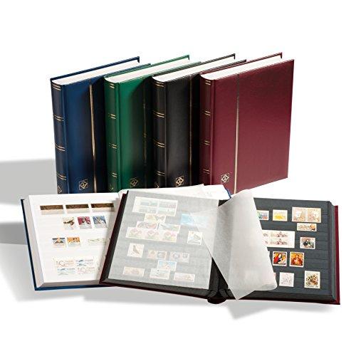 Leuchtturm 341309 Briefmarken-Sammel-Album, Einsteckbuch Comfort, DIN A4, 32 weiße Seiten, wattierter Einband, blau