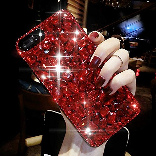ikasefu iPhone 5, iPhone 5S Fall, Luxus Sleek Glitzer Funkelnd Bling Flash Back stoßfest Cute glänzend PC + TPU Thin Bumper Strass Kristallen Diamant Schutzhülle Cover für iPhone 5/5S rot